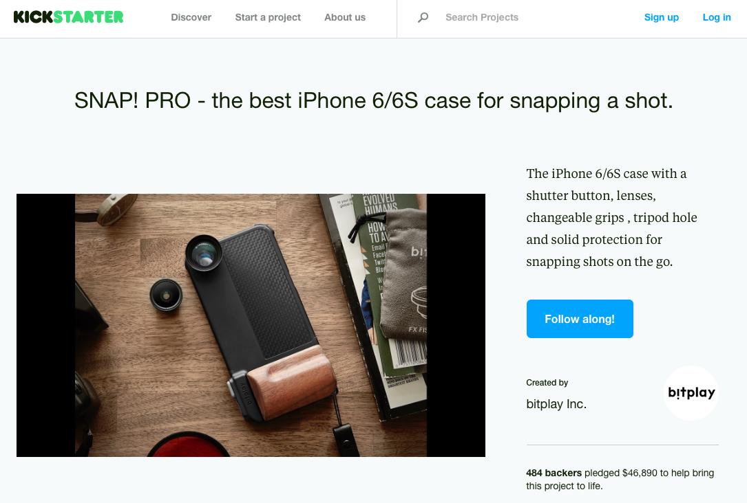 3e3d90e51d ちなみに、SNAP! PRO は2014年9月に同じクラウドファンディング「Kickstarter」のプロジェクトで最終的に約1200万円(約1500名)の出資を得る事に成功した iPhone 6専用 ...